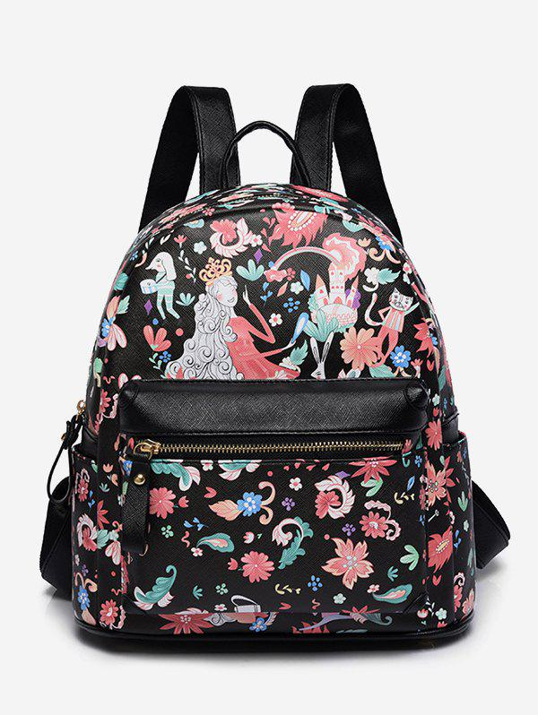 Hot Flower Fairy Print College Backpack