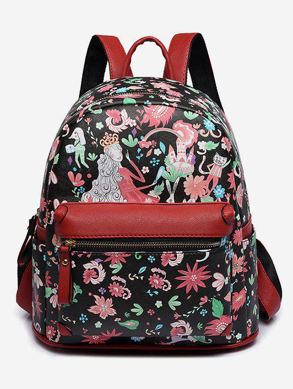 Store Flower Fairy Print College Backpack