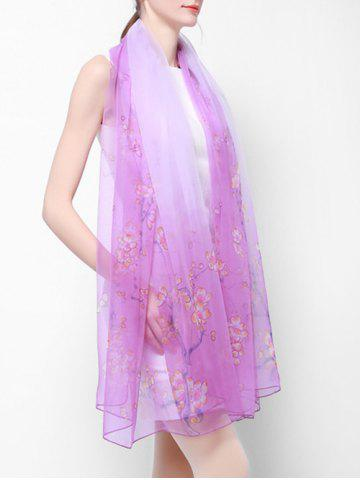 Flower Printed Beach Silky Long Scarf