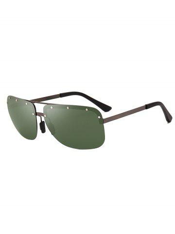Rimless Rivet Rectangle Polarized Sunglasses