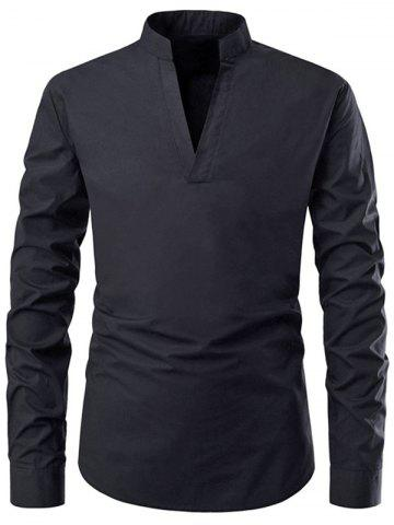 Solid Color V-Neck Casual Shirt