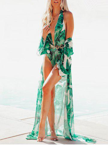Chiffon Leaf Print Long Sheer Cover Up