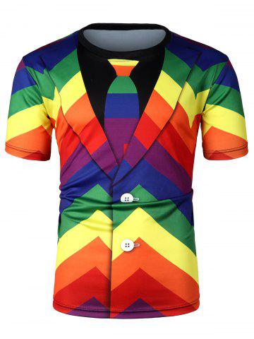 Colorful Striped Pattern Short Sleeves T-shirt