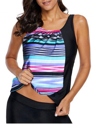 Padded Striped Swim Tankini Top