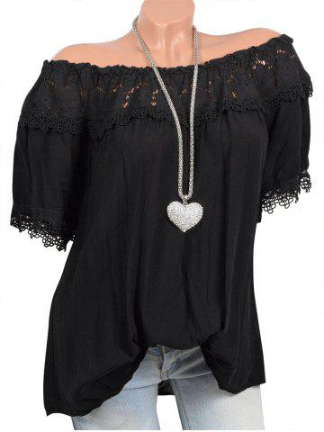 Off Shoulder Lace Panel Short Sleeves Blouse