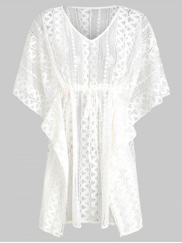 Batwing Lace V Neck See Thru Cover Up