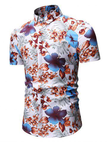 Flower Print Short Sleeves Shirt