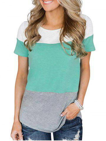 Lace Panel Color Block Round Hem Tee