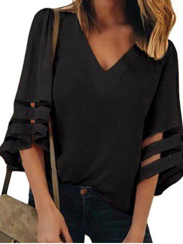 Three Quarter Sleeves Mesh Panel Blouse