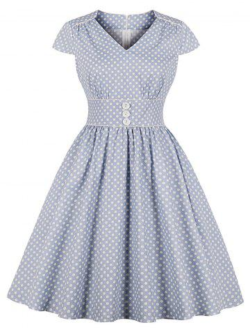 Polka Dot Piping Button Vintage Dress