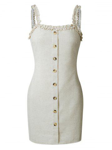 Mini Frilled Buttoned Tight Dress