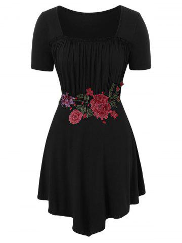 Floral Embroidery Plus Size Square Neck T-shirt