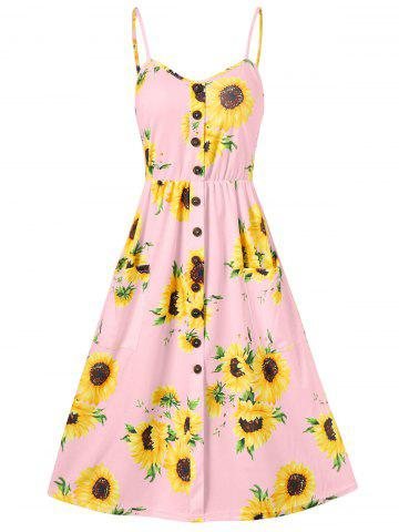 Spaghetti Strap Sunflower Print Buttoned Mini Dress