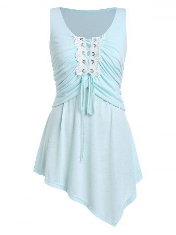 Plus Size Asymmetrical Lace Up Ruched Tank Top