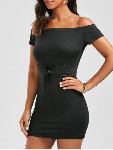 Lace Up Bodycon Solid Dress