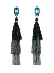Pair of Faux Gem Tassel Earrings -