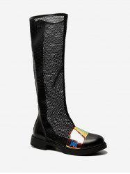 Sheer Mesh Knee High Boots -