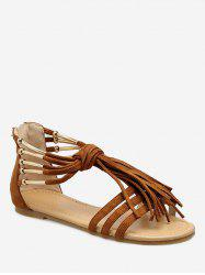 Vintage Fringed Gladiator Flat Sandals -