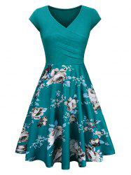 V Neck Floral Print Vintage Surplice Dress -