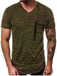 Hollow Out Patchwork Short Sleeves T-shirt -