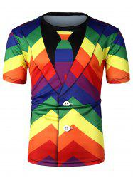 Colorful Striped Pattern Short Sleeves T-shirt -