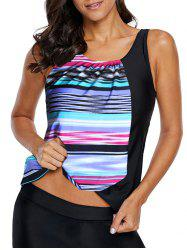 Padded Striped Swim Tankini Top -