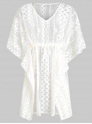 Batwing Lace V Neck See Thru Cover Up -
