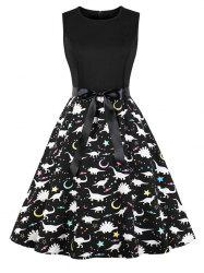 Dinosaur Print Sleeveless Vintage Dress -