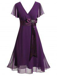 Bowknot Midi Plus Size Surplice Dress -