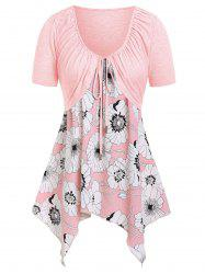Plus Size Floral Print Handkerchief Two Piece T-shirt -