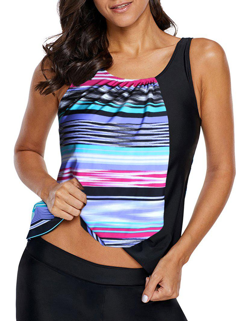 Store Padded Striped Swim Tankini Top