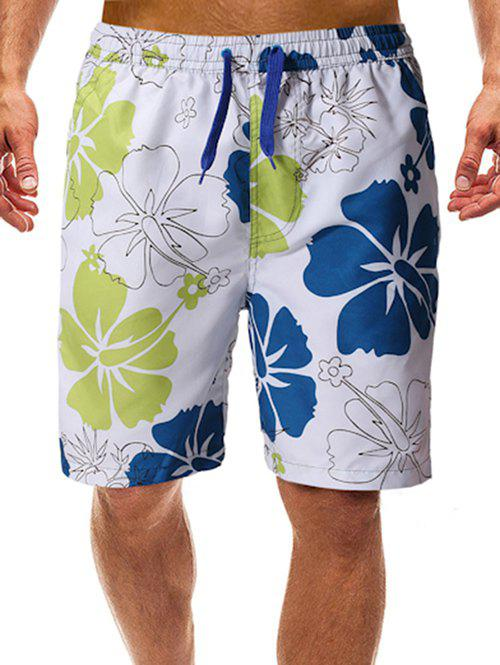 Cheap Flowers Print Beach Casual Shorts
