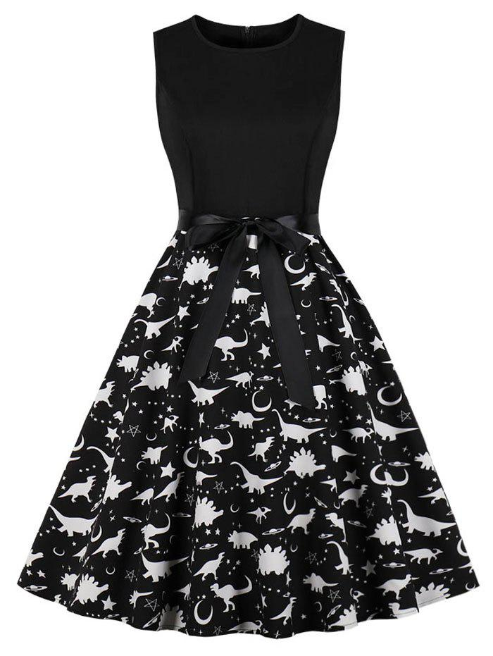 Latest Dinosaur Print Sleeveless Vintage Dress