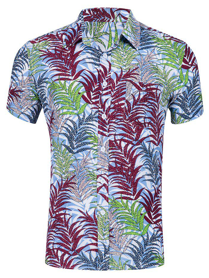 Sale Leaf Print Leisure Short Sleeves Shirt