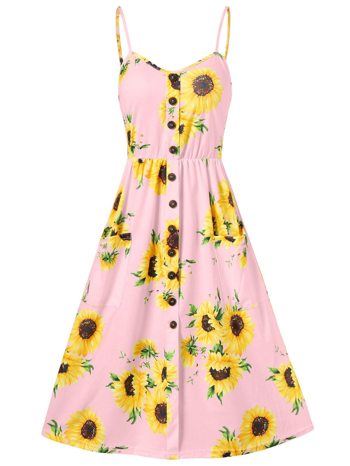 5e08b27040b8 47% OFF] Spaghetti Strap Sunflower Print Buttoned Mini Dress | Rosegal