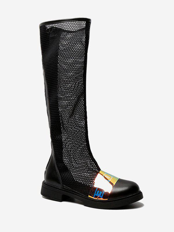 Discount Sheer Mesh Knee High Boots