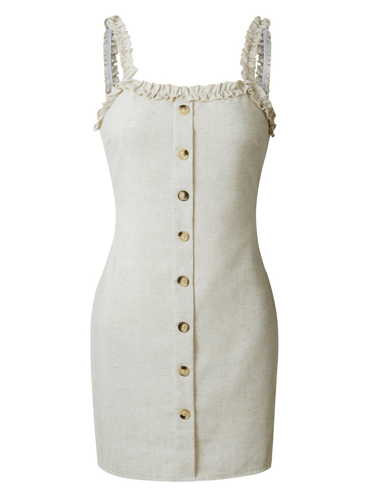 Affordable Mini Frilled Buttoned Tight Dress