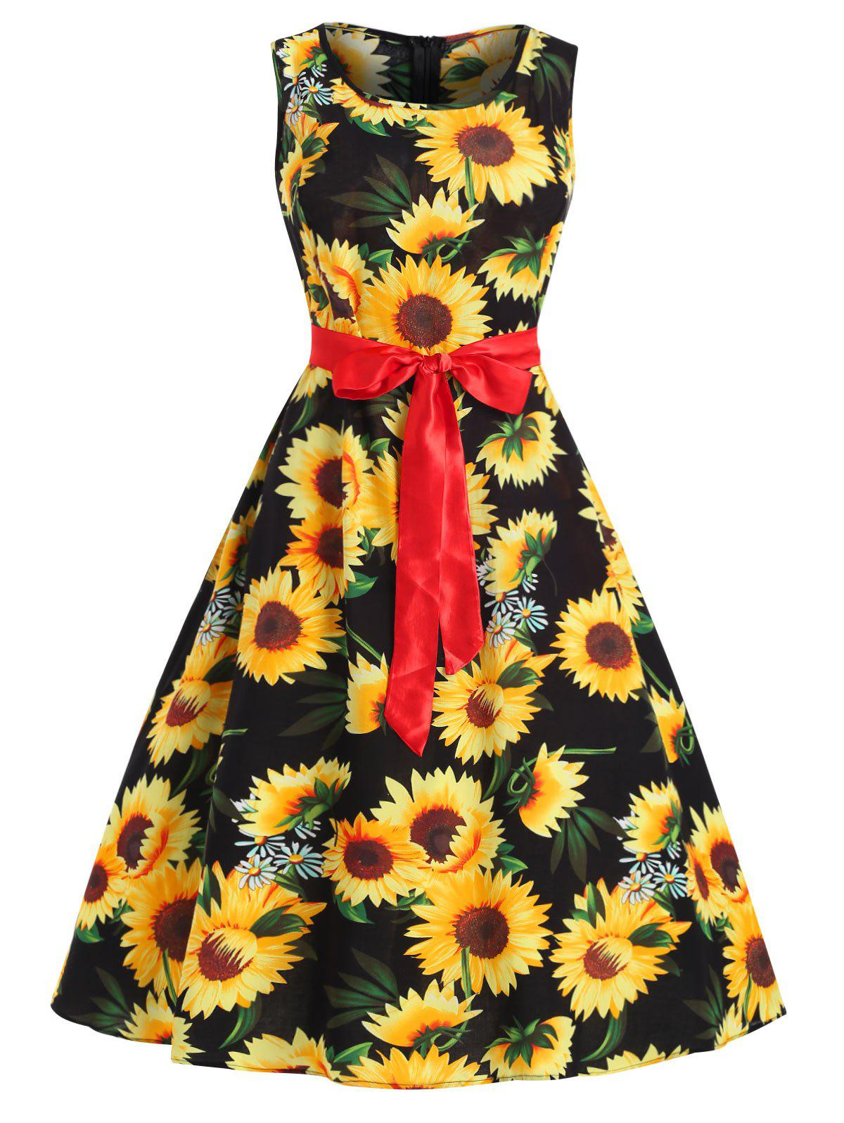 75ad41a29ec8 42% OFF] Sunflower Print Plus Size Flared Dress | Rosegal