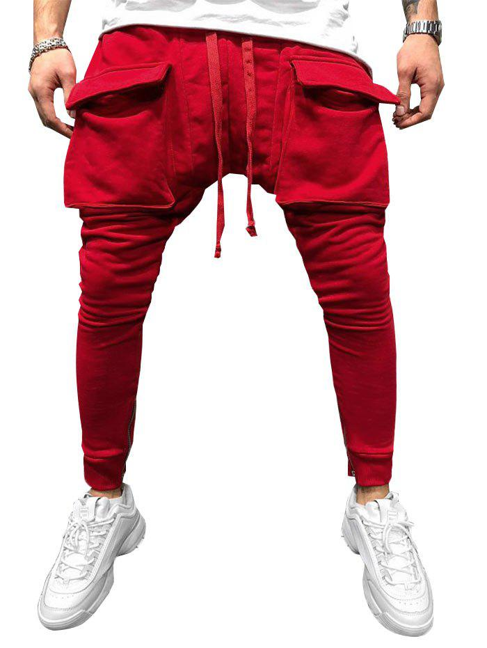 Chic Pocket Decoration Solid Color Jogger Pants