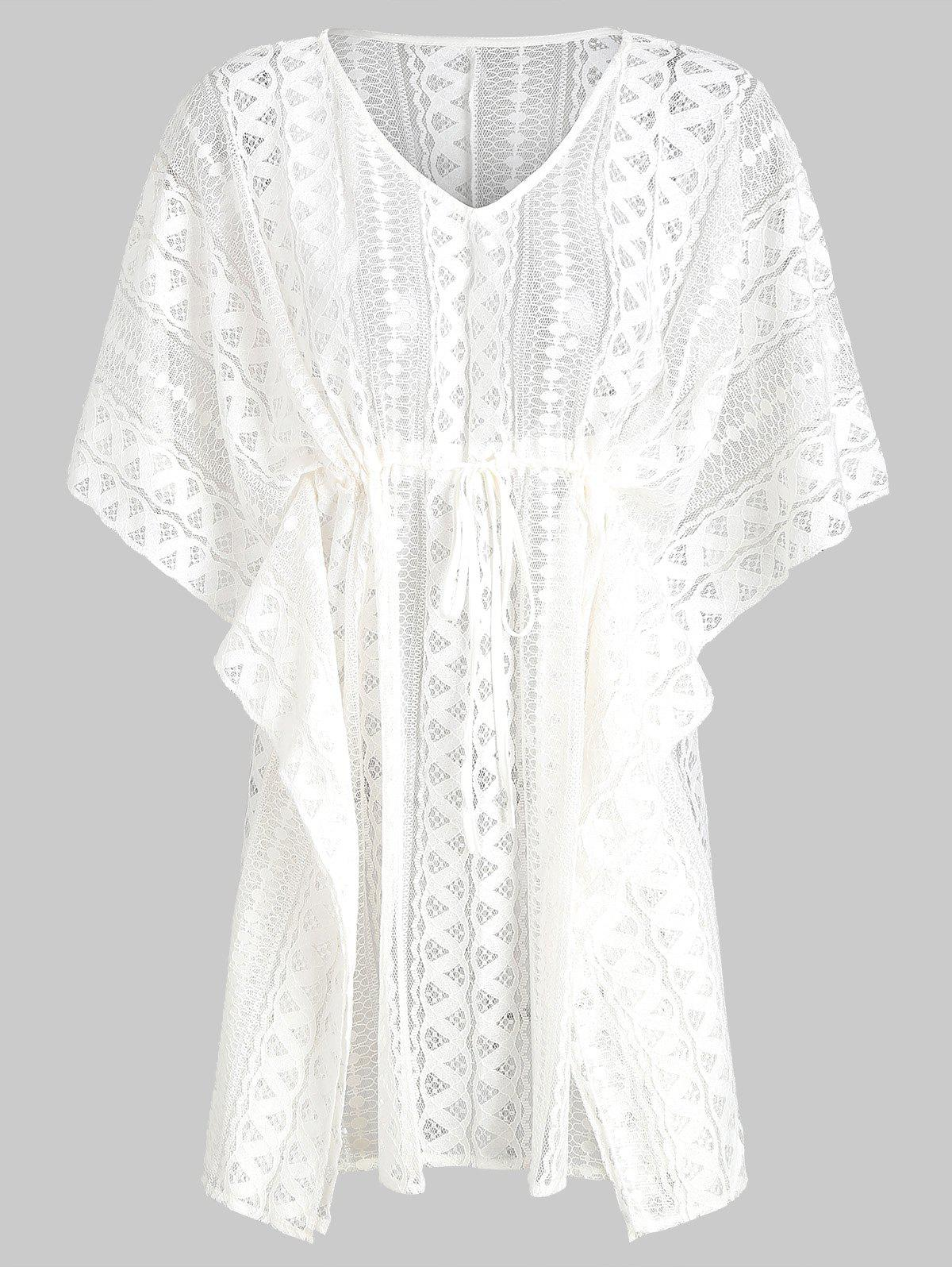 Shop Batwing Lace V Neck See Thru Cover Up
