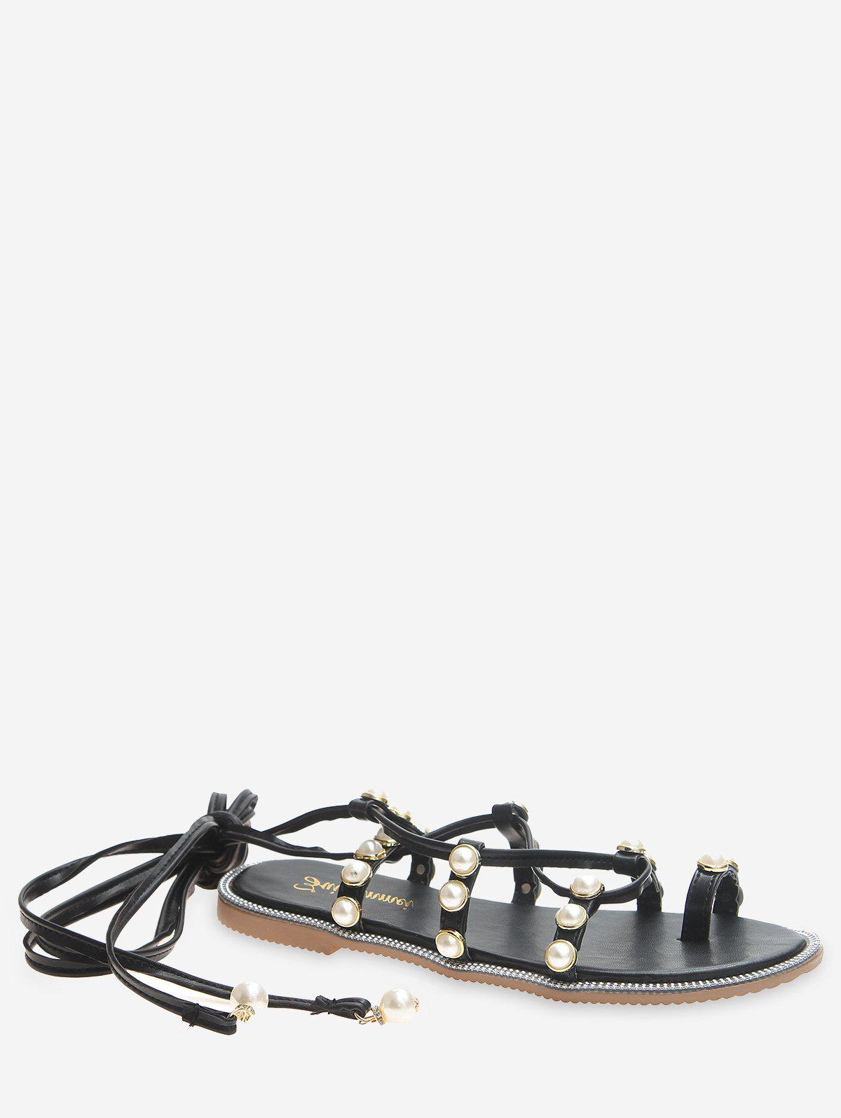 Buy Faux Pearl Decoration Lace-up Sandals