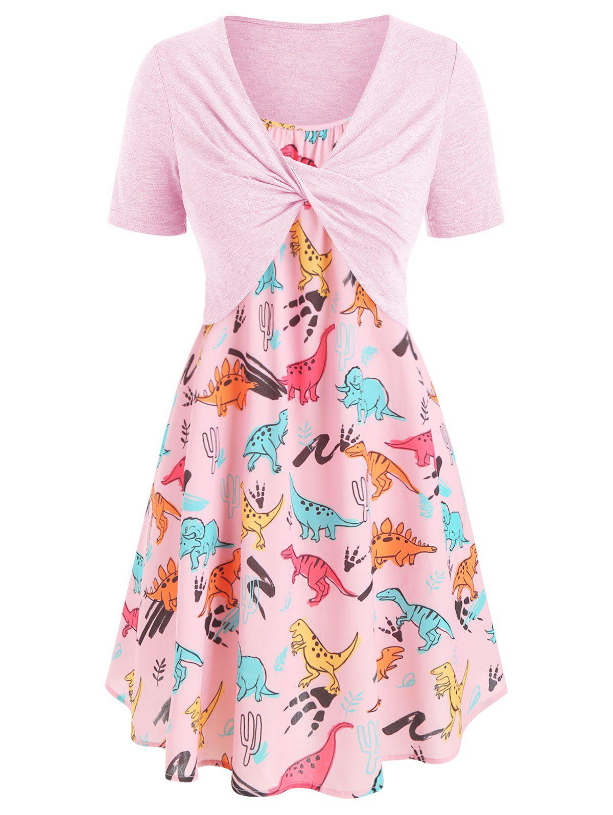 Plus Size Dinosaur Print Twist Two Piece Dress