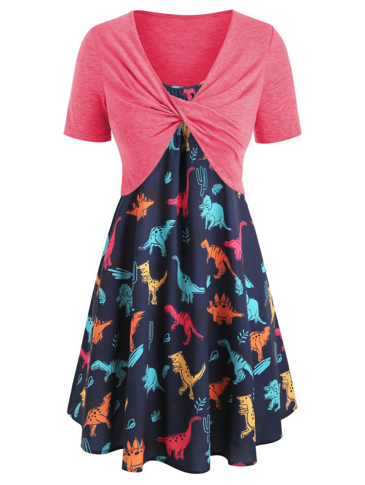 Discount Plus Size Dinosaur Print Twist Two Piece Dress
