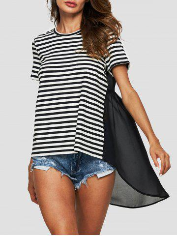 Striped Mesh Insert High Low T-shirt