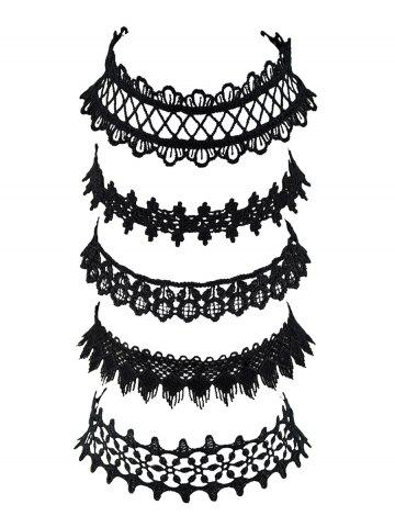 Wide Lace Choker Necklace Set