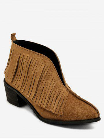 V Cut Fringed Chunky Heel Ankle Boots