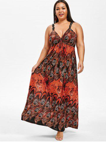 Plus Size Lace Up Maxi Feather Print Dress