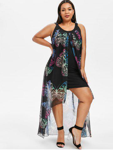 2b1147796290 Butterfly Print Plus Size Maxi Overlay Dress