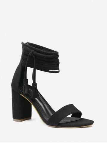 Fringed Ankle Wrap High Heel Sandals