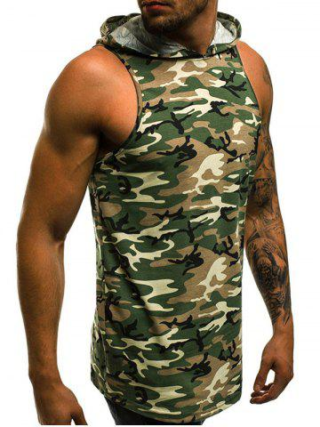 Camouflage Pattern Hooded Tank Top, Camouflage green